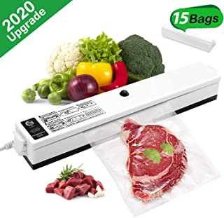 Vacuum Sealer, Etrigger One-button Automatic Food Sealer Machine Can be Used for Food Preservation and Sous Vide, Suitable for Home or Camping Use (Provide 15pcs BPA-Free Vacuum Seal Bags of 20×25cm)