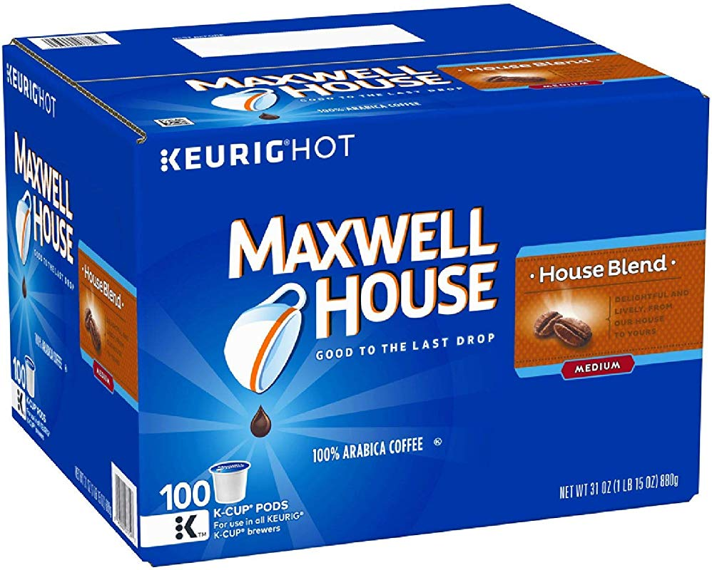Maxwell House House Blend Coffee Medium Roast K Cup Pods House Blend K Cup 100 Count