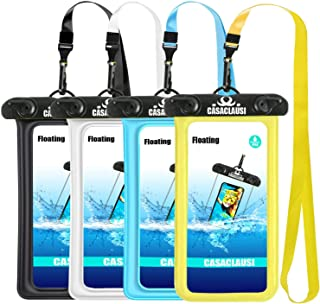 CASACLAUSI Waterproof Phone Pouch Case, 4 Packs Floating Cellphone Waterproof Universal Dry Bag for X/8/8plus/7/7plus/6s/6/6s Plus, 5S, s8/s7/S6.