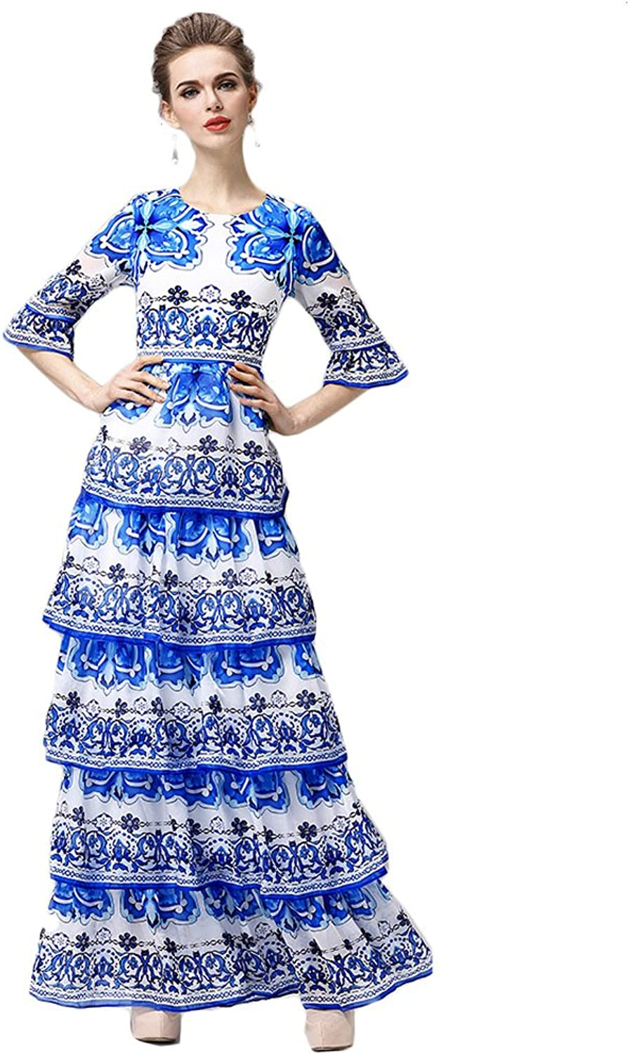 2017 Spring Summer Fashion Elegant 3 4 Sleeve ONeck bluee Flowers Print Cultivate Women Layed Cake Long Dress