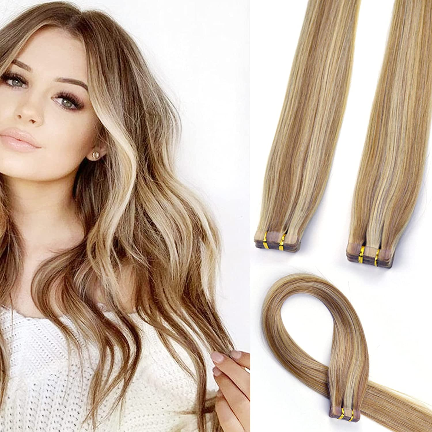20Pcs Quality Philadelphia Mall inspection 50G Real Human Hair Tape Ombre in Br Extensions Chocolate