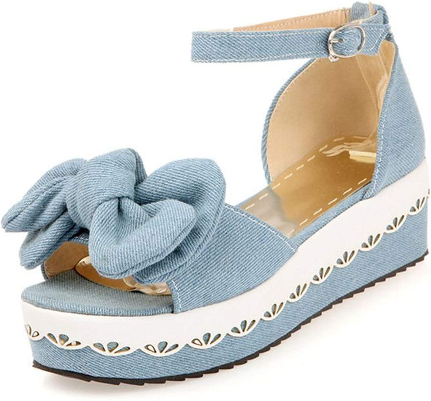 QianQianStore High Heel Sandals Open Toe Ankle Strap Bowknot Ladies Summer shoes Ruffles Fashion for shoes