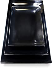 Melamine Food Trays for Eating - Black Serving Platter Set in 3 Sizes for an Asian Touch of Class at Your Next Dinner. Ozara Melamine Tray Rectangle Serving Trays are Sturdy and Dishwasher Safe