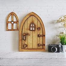 Puerta de hada de madera, decoración en miniatura 3D de madera para puerta de jardín, hadas, estatuas de ventana para puer...