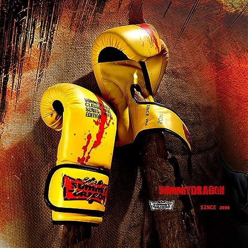 Gants de boxe pour femmes et hommes adultes Sanda Gants d'entraîneHommest pour sac de boxe (Couleur   jaune, Taille   6oz)