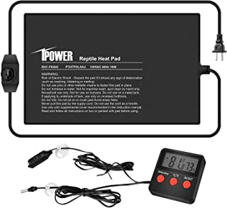 "iPower 8""x12"" Under Tank Warmer Heating Pad Terrarium Heat Mat with Temperature Adjustable Controller, Thermometer and Hyg..."