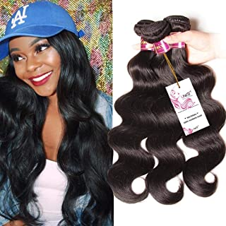 UNice Hair Brazilian Body Wave Virgin Hair 14 16 18 inches 3 Bundles, 100% Unprocessed Brazilian Wavy Human Hair Weave Extensions, Natural Black Color for African Americans Women Total 300g