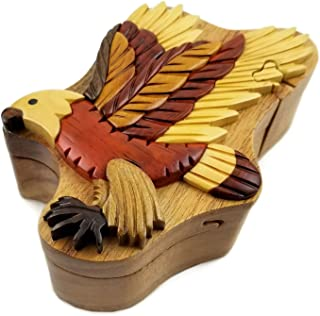Oberstuff.com Flying Eagle All Natural Exotic Woods Puzzle Box, 5.75 x 4 x 2.25 with Sliding Wooden Key Lock, Sliding Cover and Inner Lid to Hidden Compartment. Hand-Made Wood Onlay Design on Lid.