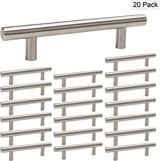 homdiy Cabinet Handles Brushed Nickel Drawer Pulls 20 Pack - HD201SN 3-3/4 inch Modern Cabinet Pulls Brushed Nickel Cabinet Drawer Pulls Euro Bar Cabinet Handles for Kitchen, Bathroom,Closet,Wardrobe
