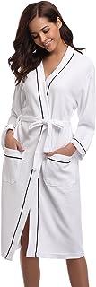 アイボレオ(Aibrou)男女兼用バスローブ ホテルタイプ 無漂白・無蛍光ワッフル生地 コットン素材 ホワイト M
