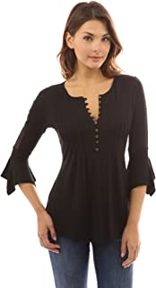 Women Henley Lace Inset 3/4 Bell Sleeve Blouse