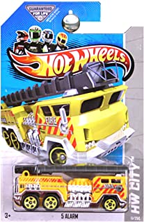 Hot Wheels 2013 5 Alarm Fire Truck Engine with Ladder in Yellow