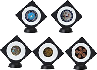 Allsum 5-Pack Challenge Coin Gemstones 3D Display Stand Box (3.5 x 3.5, Black), Medallion Coin Gemstone Jewelry Specimen Show Case, Double Sided Floating Display Frame