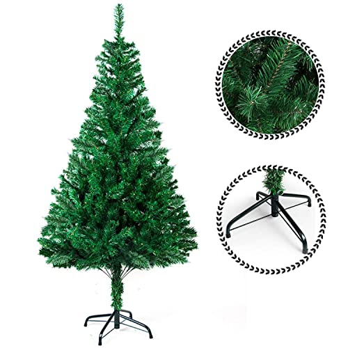 Sunjas Arbre de Noël Artificiel Sapin Artificiel Vert / Blanc 120cm-210cm (200-700RAMAS) (Vert 210cm)