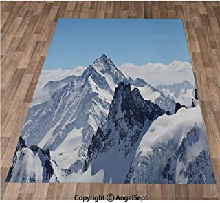 Non-Slip Super Soft Rugs Cozy Kids Bedroom Living Room Carpet 32x48in,Snowy Rocky Mountain Peaks Tops Scene High Lands ICY Frozen Swiss Outdoor Art,Blue White Indoor/Outdoor Area Runners & Stair Rug