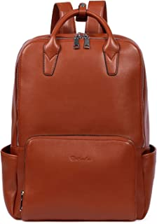 BOSTANTEN Laptop Backpack for Women 15.6 inch Computer Genuine Leather Backpack Purses College Travel Daypack Large Satchel