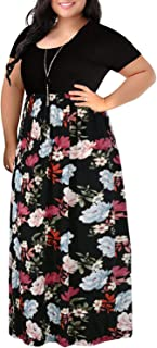 Womens Floral Print Short Sleeve Plus Size Casual Maxi Dress with Pockets