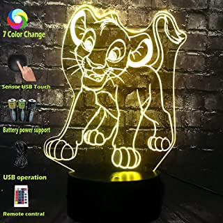 Baby Night Electronic Safe Table Lamp Movie Lion King Figure Animal Simba 3D LED Cartoon Lava Room Bedside Decor Mood Light Part Supply Kids Xmas Thanksgiving Day Gift Toy(Simba)
