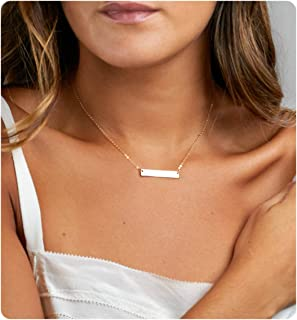 Fremttly Womens Simple Delicate Handmade 14K Gold Filled Rose Gold Simple Delicate Heart and Bar Necklace Chokers Necklace