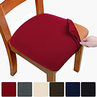 Melaluxe Stretch Dining Room Chair Seat Covers, Removable Washable Jacquard Anti-Dust Upholstered Kitchen Chair Seat Cushion Slipcovers (Burgundy,Pack of 4)