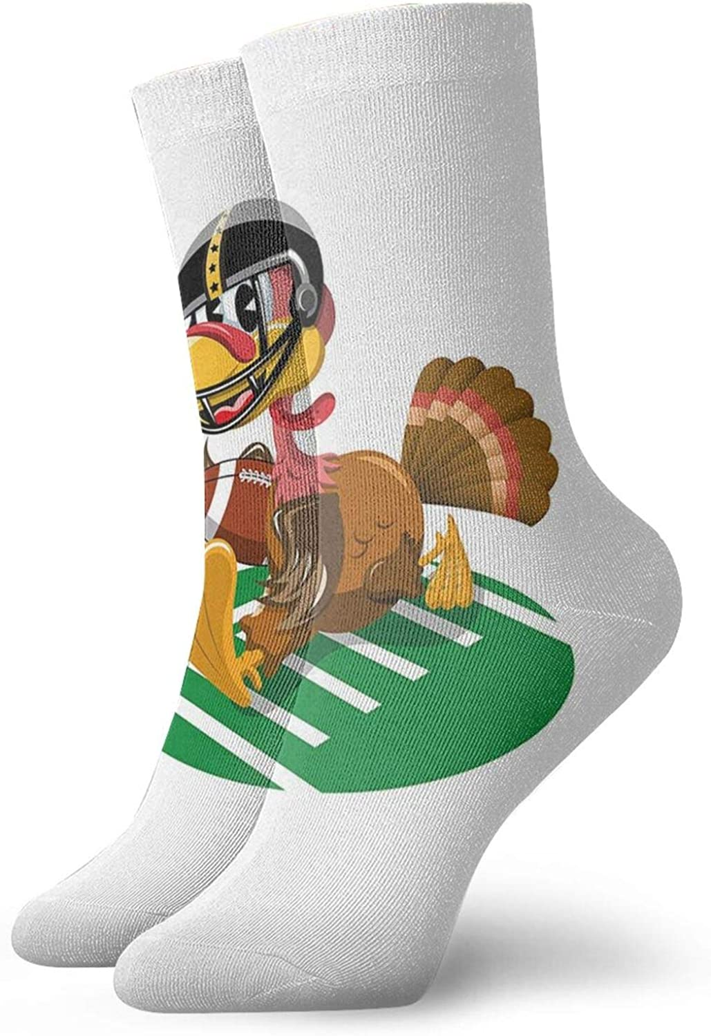 Compression High Socks-American Football Playing Funny Bird And Thanksgiving Day Celebrations Theme Pigskin Best for Running,Athletic,Hiking,Travel,Flight