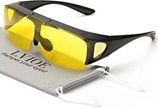 LVIOE Oversized Night Vision Glasses, Wrap Around Style, Fit Over Regular Prescription Glasses with Flip Up Polarized Lens …