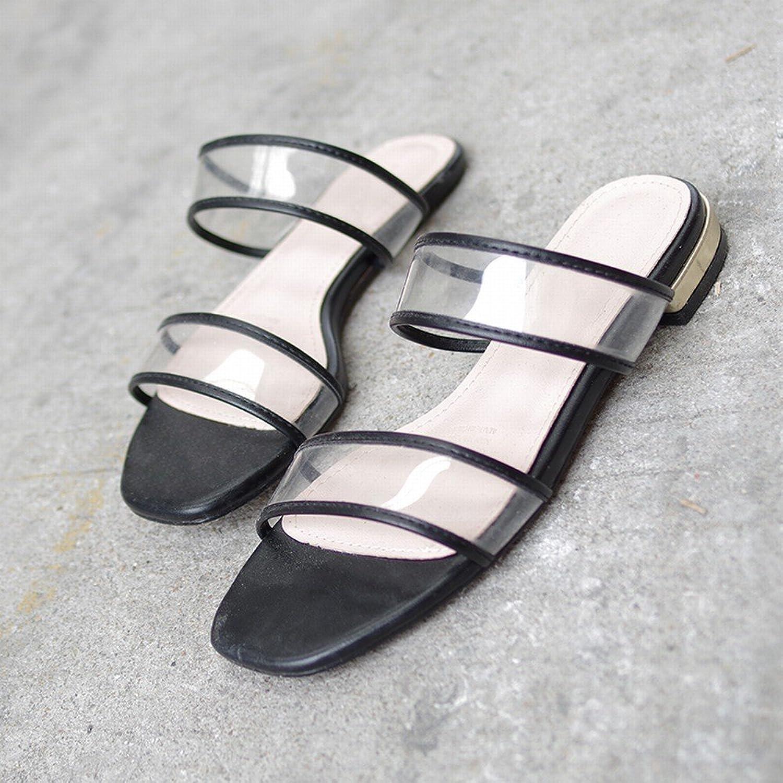 DIDIDD Transparente Pantoffeln, Um Einfache Flache Sandalen Eines Wortes zu Tragen,Schwarz,38