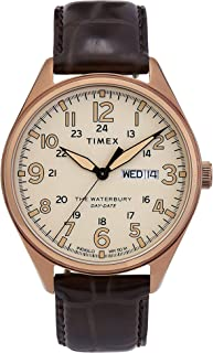 Timex Men's Waterbury Traditional Day Date 42mm Leather Strap Watch