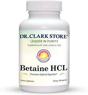 Dr. Clark Betaine HCL Digestive Enzymes - Acid Reflux Medicine, Hydrochloric Acid Protein Supplement, Optim...