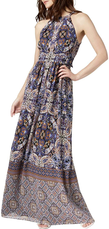 Inc Womens Petites Halter Pleated Maxi Dress