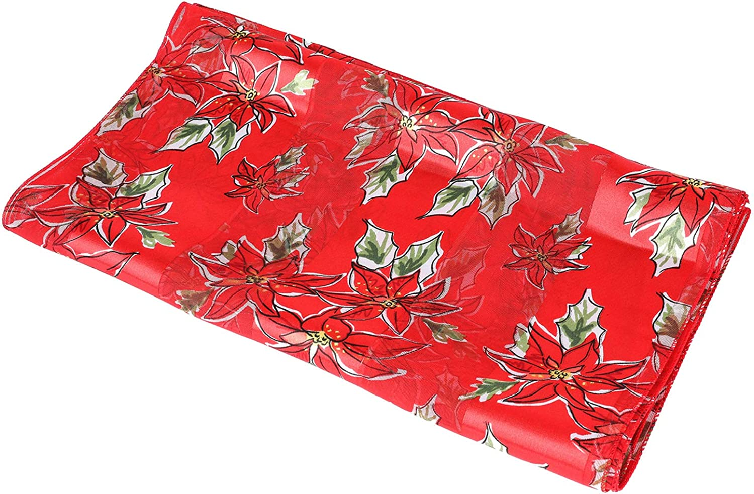 Christmas Scarf  Christmas Candycane, Poinsettia w  Gift Box By Crown (Poinsettia Red)