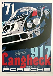 Nicolas Hunziker Martini Porsche 917LH - Le Mans 24 Hours 1971 Poster Autographed by Driver Vic Elford and The Artist
