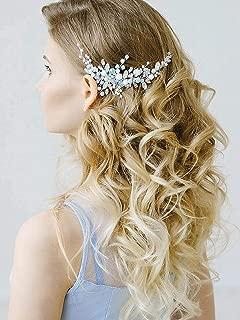 Barogirl Wedding Hair Comb Silver Rhinestones Blue Opal Crystal Vintage Bridal Hair Clips Combs for Brides and Bridesmaids