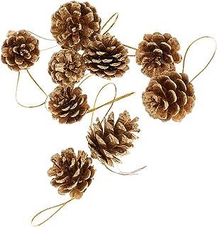 【ノーブランド品】9個 4cm クリスマス オーナメント 祭り クリスマスツリー ぶら下げ 松かさ 松ぼっくり 装飾 飾り 全2色 - ゴールド