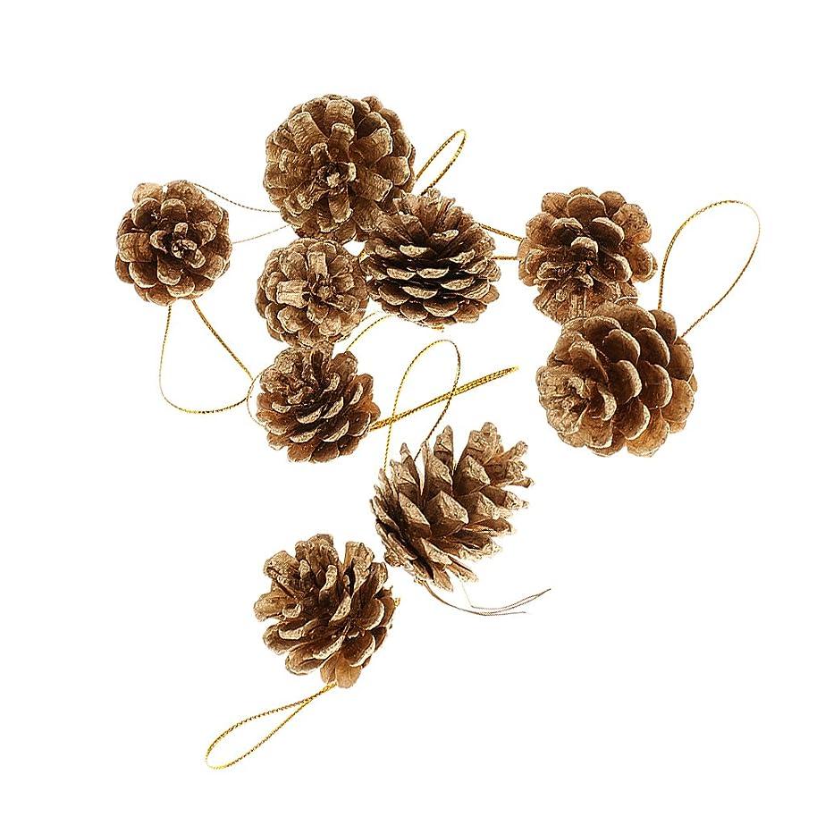 つづり国籍刺繍【ノーブランド品】9個 4cm クリスマス オー??ナメント 祭り クリスマスツリー ぶら下げ 松かさ 松ぼっくり 装飾 飾り 全2色 - ゴールド
