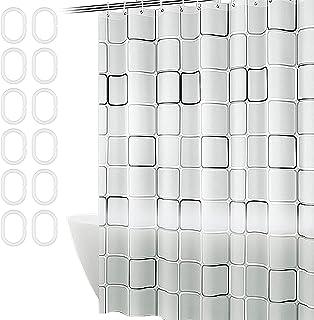 YUENX Rideau de Douche, Rideau de Douche Tissu Polyester Imperméable Antibacterien Lavable en Machine avec 12 Crochets Pla...