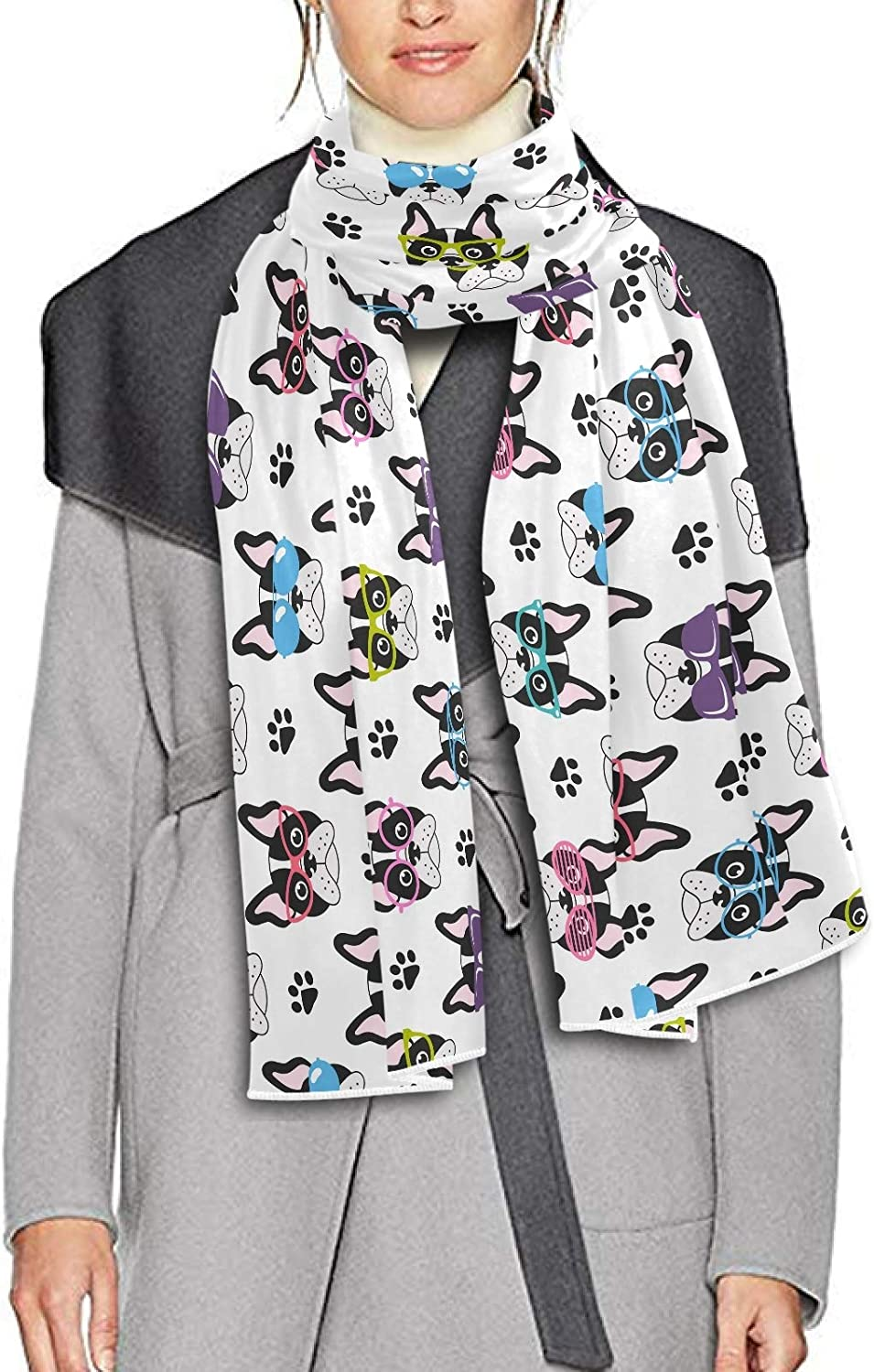 Scarf for Women and Men Cute French Bulldogs Glasses Shawl Wraps Blanket Scarf Thick Soft Winter Large Scarves Lightweight