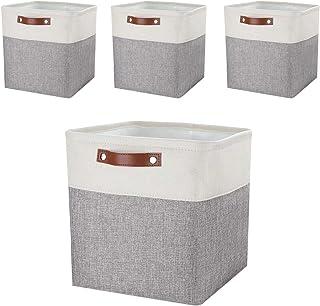 Mangata Boîtes de Rangement, paniers de Rangement en Tissu 33cm Lot de 4 pour Armoire, étagères, crèche (Gris/Blanc, Lot d...