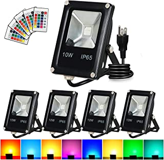 T-SUN Led Flood Light,10W RGB Color Changing Waterproof Security Lights, with US Plug, Super Bright Remote Control Outdoor Spotlight, for Garden, Yard, Warehouse Sidewalk,Backyard, Garage (5 Pack)