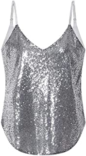 S-Fly Women's Sleeveless Sexy Party Sequins Sparkle Spaghetti Strap Backless Tank Tops