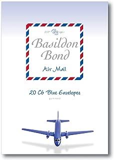 Basildon Bond C6 114 x 162 mm Gummed Envelope - Airmail Blue (Pack of 20)
