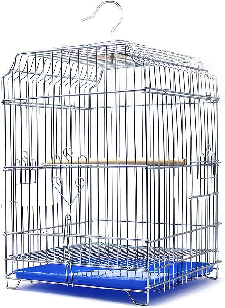 Jaulas para Aves Alambre De Acero Galvanizado Liso Jaula De Pájaros, Apto para Canarios, Estorninos, Periquitos Y Otras Aves Jaula con Bandeja De Cajón Puede Acomodar 1-2 Pájaros