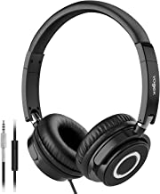 Vogek On Ear Headphones with Mic, Lightweight Portable Fold-Flat Stereo Bass Headphones..