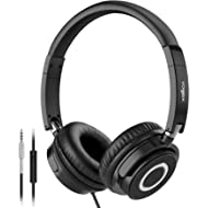 Vogek On Ear Headphones with Mic, Lightweight Portable Fold-Flat Stereo Bass Headphones with 1.5M...
