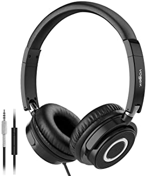 Vogek On Ear Headphones with Mic, Lightweight Portable Fold-Flat Stereo Bass Headphones with 1.5M Tangle Free Cord an...