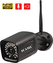 ICAMI Wireless Security Camera Outdoor 1080p WiFi Waterproof SD Card with Remote View Two-Way-Audio Motion Detection