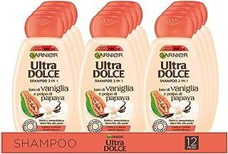 Garnier Multi Pack Shampoo Ultra Dolce Vaniglia e Polpa di Papaya, Shampoo per Capelli Lunghi, 300 ml, Confezione da 12