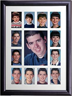 Excello Global Products Collage Picture Frame - School Years Photo Frame with 13 Openings. Photo Holder Displays Horizontal or Verticle. 12