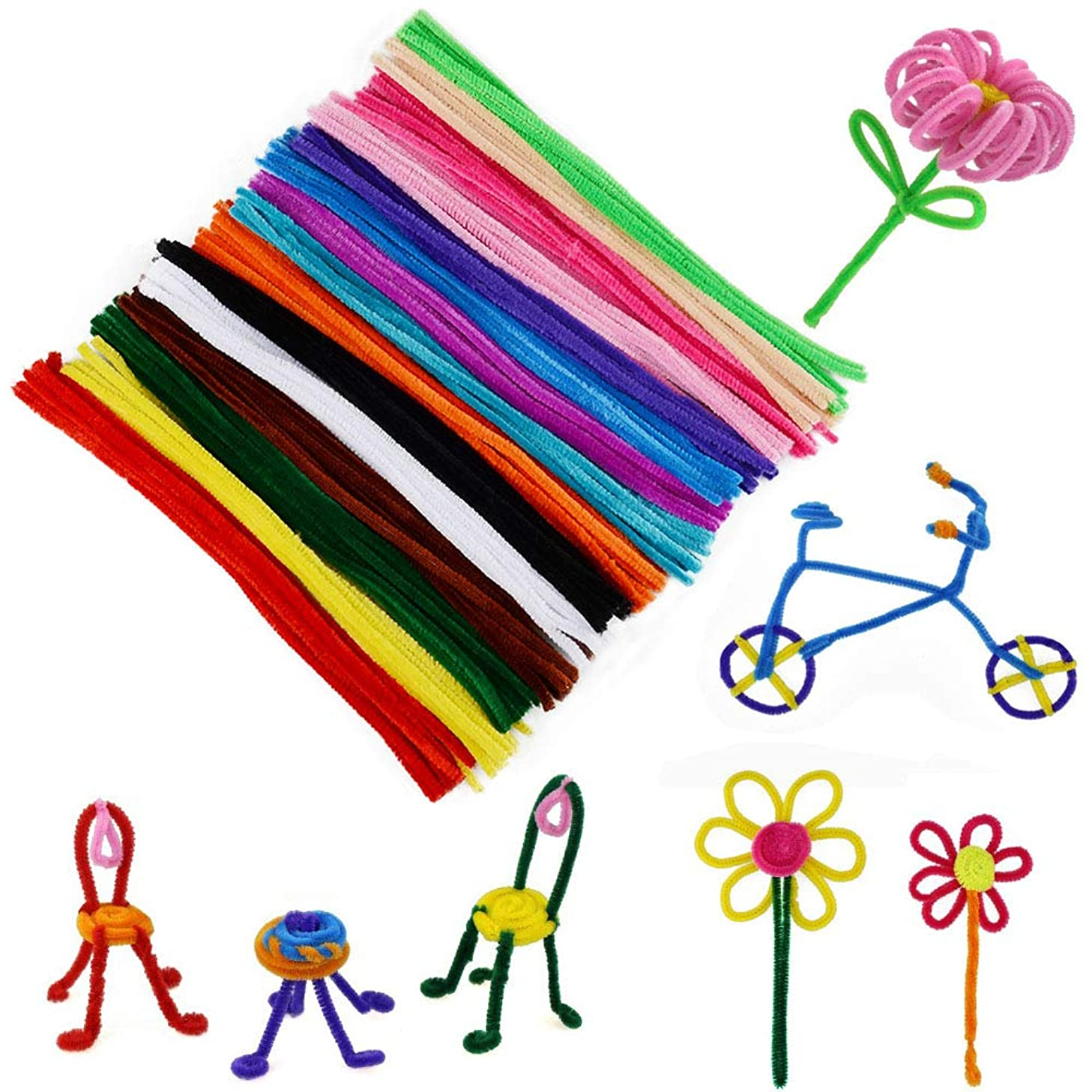 WIWAPLEX 150 Pcs Pipe Cleaners, Assorted Pipe Cleaner, Art Supplies Chenille Stems 6 mm x 12 Inch, Colors Pipe Cleaners Craft Decorations, Children Kids Plush Educational Toy Crafts Handmade DIY Craft