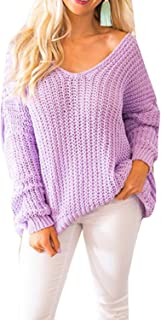 Imily Bela Womens Cable Knit Off The Shoulder Tunic Tops Scoop V Neck Oversized Sweater